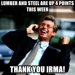 HaHa! Business! Guy! - Lumber and steel are up 4 points This week Thank you irma!