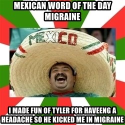 Sombrero Mexican - mexican word of the day  migraine i made fun of tyler for haveeng a headache so he kicked me in migraine