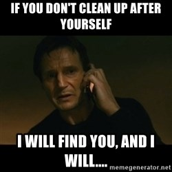 liam neeson taken - if you don't clean up after yourself I will Find you, ANd I will....