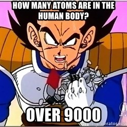 Over 9000 - How many atoms are in the human body? over 9000