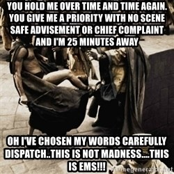 sparta kick - You HOLD me over Time and time again. You give me a priority with no scene safe advisement or chief complaint and I'm 25 minutes away Oh I've CHOSEN MY WORDS CAREFULLY DISPATCH..This is not MADNESS....This is ems!!!