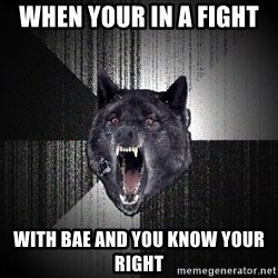 Insanity Wolf - when your in a fight  with bae and you know your right