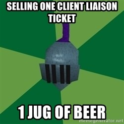 Runescape Advice - selling one Client liaison ticket 1 jug of beer