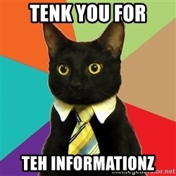 Business Cat - tenk you for teh informationz