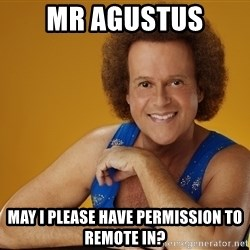 Gay Richard Simmons - Mr agustus May I please have permission to remote in?