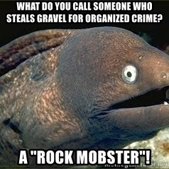 """Bad Joke Eel v2.0 - What DO YOU CALL SOMEONE WHO STEALS GRAVEL FOR ORGANIZED CRIME? A """"ROCK MOBSTER""""!"""