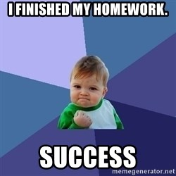 Success Kid - I finished my homework. SucCess