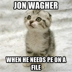 Can haz cat - jon wagher when he needs pe on a file