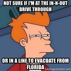 Fry squint - Not sure if I'm at the in-n-out drive through Or in a line to evacuate from Florida
