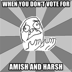 Whyyy??? - when you don't vote for  amish and harsh