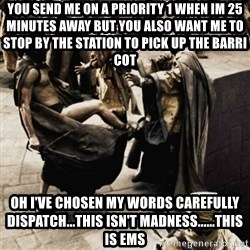 sparta kick - you send me on a priority 1 when im 25 minutes away but you also want me to stop by the station to pick up the barri cot Oh i've chosen my words carefully dispatch...this isn't madness......this is ems