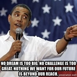 Obama You Mad - NO DREAM IS TOO BIG. No challenge is too great. Nothing we want for our future is beyond our reach.