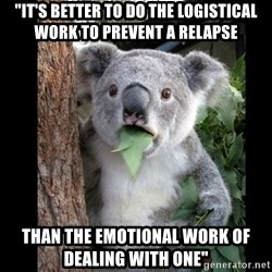 """Koala can't believe it - """"it's better to do the logistical work to prevent a relapse than the emotional work of dealing with one"""""""