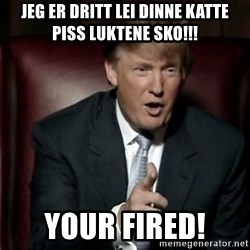 Donald Trump - Jeg er dritt lei dinne Katte piss luktene sko!!! Your fired!
