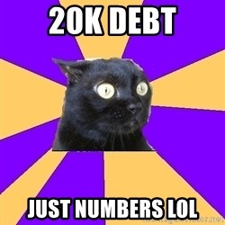 Anxiety Cat - 20k debt just numbers lol