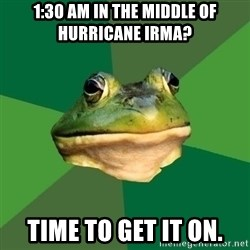 Foul Bachelor Frog - 1:30 AM in the middle of Hurricane Irma? Time to get it on.