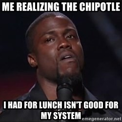 Kevin Hart Face - me realizing the chipotle  i had for lunch isn't good for my system