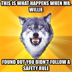 Courage Wolf - This is what happens when Mr. willie  found out you didn't follow a SAFETY rule