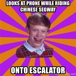 Unlucky Brian Strikes Again - looks at phone while riding chinese segway onto escalator