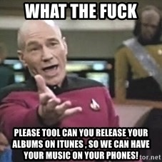 Picard Wtf - What the fuck Please Tool can you release your albums on itunes , So we can have your music on your phones!