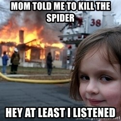 Disaster Girl - Mom told me to kill the spider Hey at least i listened