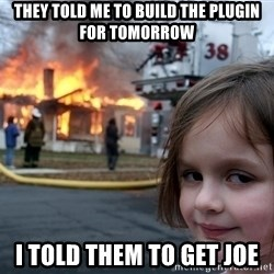 Disaster Girl - they told me to build the plugin for tomorrow i told them to get joe