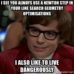 Austin Power - i see you always use a newton step in your line search geometry optimisations i also like to live dangerously