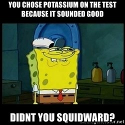Don't you, Squidward? - You chose potassium on the test becAuse it sounded good Didnt you squiDward?