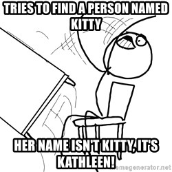 Desk Flip Rage Guy - tries to find a person named kitty her name isn't kitty, it's kathleen!