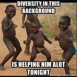 Dancing black kid - Diversity in this background Is helping him alot tonight