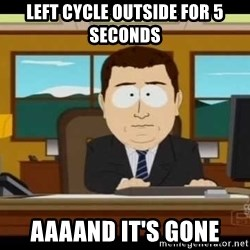 south park aand it's gone - left cycle outside for 5 seconds aaaand it's gone