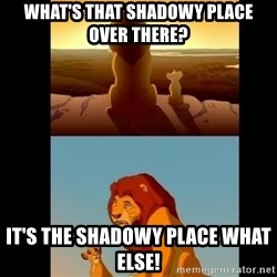 Lion King Shadowy Place - What's that shadowy place over There? It's the shadowy place What Else!
