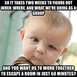 Skeptical Baby Whaa? - So it takes two weeks to figure out when, where, and what we're doing as a group and you want us to work together to escape a room in just 60 minutes?
