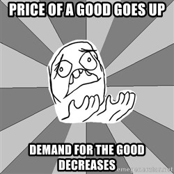 Whyyy??? - Price of a good goes up demand for the good decreases