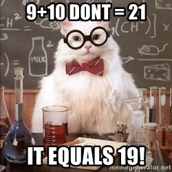 Chemistry Cat - 9+10 Dont = 21 it equals 19!