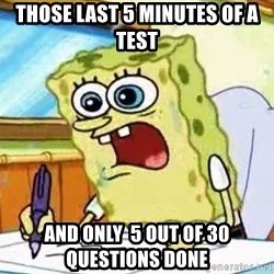 Spongebob What I Learned In Boating School Is - those last 5 minutes of a test  and only  5 out of 30 questions done
