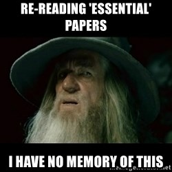 no memory gandalf - RE-READING 'ESSENTIAL' PAPERS I HAVE NO MEMORY OF THIS