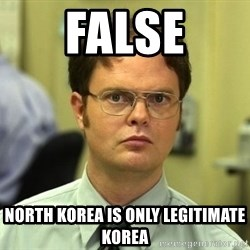 False guy - false North korea is only legitimate korea