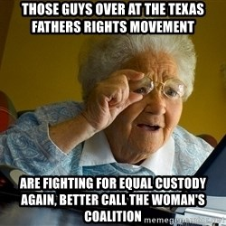 Internet Grandma Surprise - Those guys over at the Texas Fathers Rights Movement are fighting for equal custody again, better call the Woman's coalition