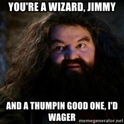 Yer A Wizard Harry Hagrid - You're a wizard, jimmy And a thumpin good one, I'd wager