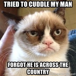 Grumpy Cat 2 - Tried to cuddle my man Forgot he is across the country