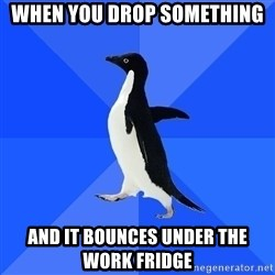 Socially Awkward Penguin - When you drop something and it bounces under the work fridge