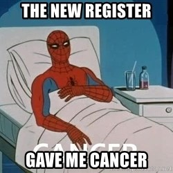 Cancer Spiderman - the New register gave me cancer
