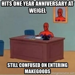 Spiderman Desk - Hits one year anniversary at weigel  still confused on entering makegoods