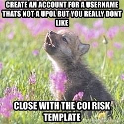 Baby Insanity Wolf - CREATE AN ACCOUNT FOR A USERNAME THATs not a UPOL BUT YOU REALLY DONT LIKE close with the coi risk template