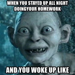 My Precious Gollum - when you stayed up all night doingyour HOMEWORK and you woke up like