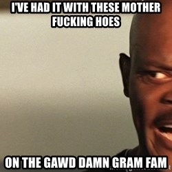 Snakes on a plane Samuel L Jackson - I've had it with these mother fucking hoes On the gawd damn gram fam