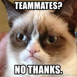 Angry Cat Meme - Teammates? No Thanks.