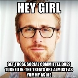 Ryan Gosling Hey Girl 3 - hey girl get those social committee dues turned in. The treats are almost as yummy as me