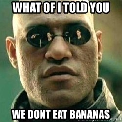 What if I told you / Matrix Morpheus - What of i told you We dont eat bananas